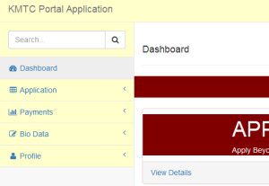 kmtc portal application for admission