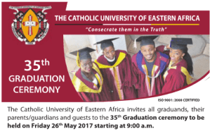 Catholic University of Eastern Africa 35th Graduation Ceremony List and Ceremony, May 2017