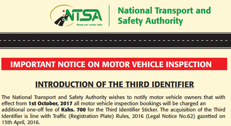 NTSA Third Identifier Sticker motor vehicle Inspection statement and Insurance Clarificatio