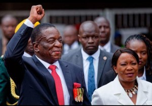 The new President of Zimbabwe Emmerson D. Mnangagwa with his wife