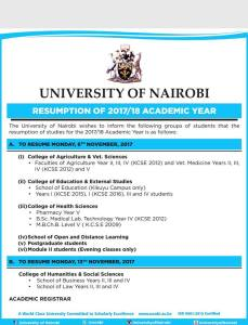 University of Nairobi releases new re-opening dates