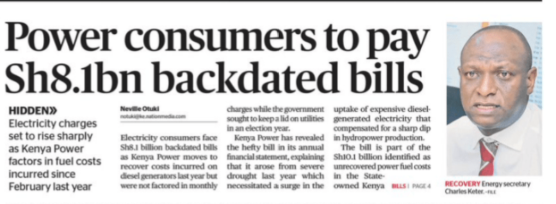 Kenya Power Faces Legal Class Action for Controversial Backdated Bills