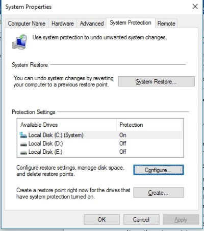 The System Restore feature in Windows