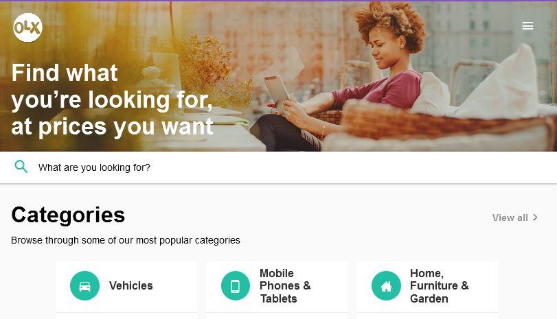 The new olx Kenya website design look