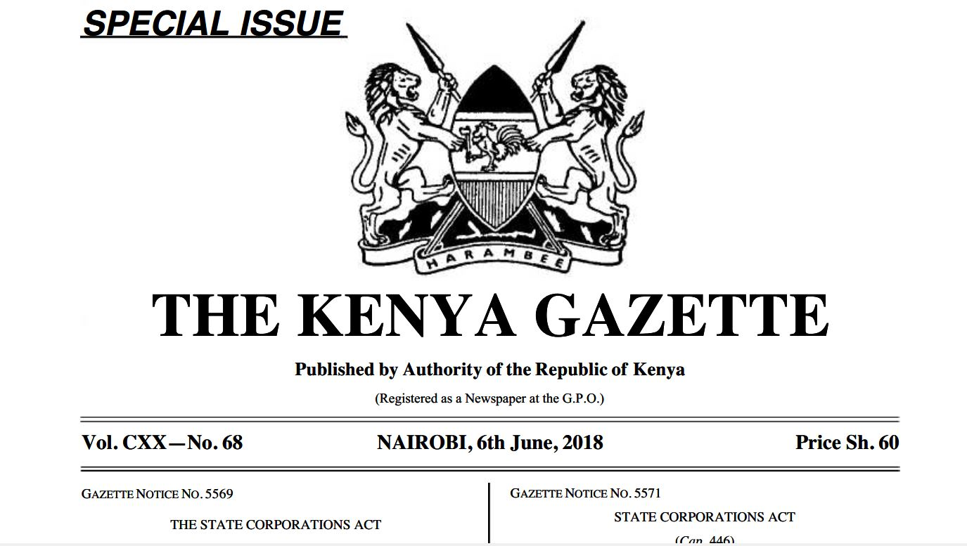 President Uhuru Kenyatta state parastatals appointments to government jobs gazette notice of 6th June 2018