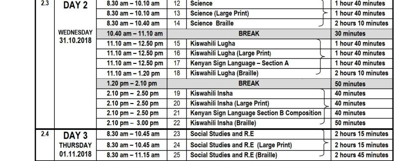 KCPE day 2 and 3 timetable and free past paper download link
