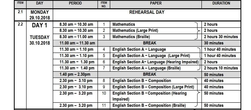 Kcpe 2018 timetable for maths and English and past paper download link free