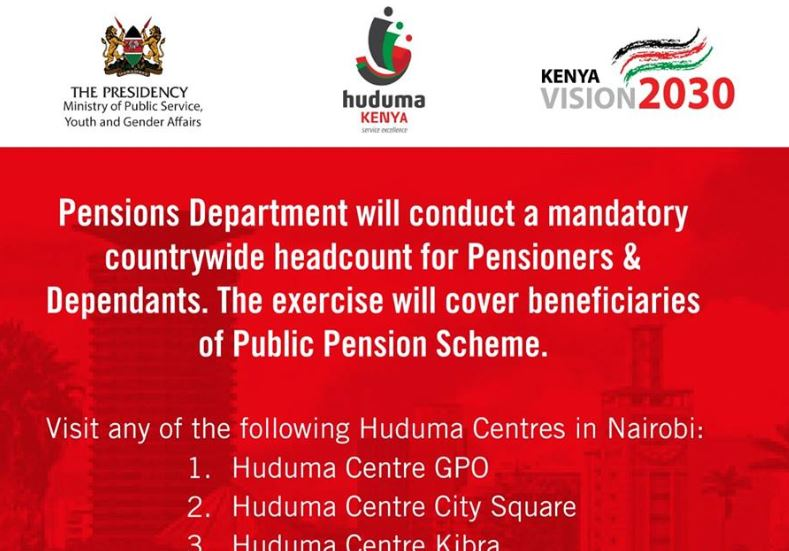 Kenya Public Pensions Scheme 2019 Headcount for Pensioners and Dependents (Dates and Location in each county)