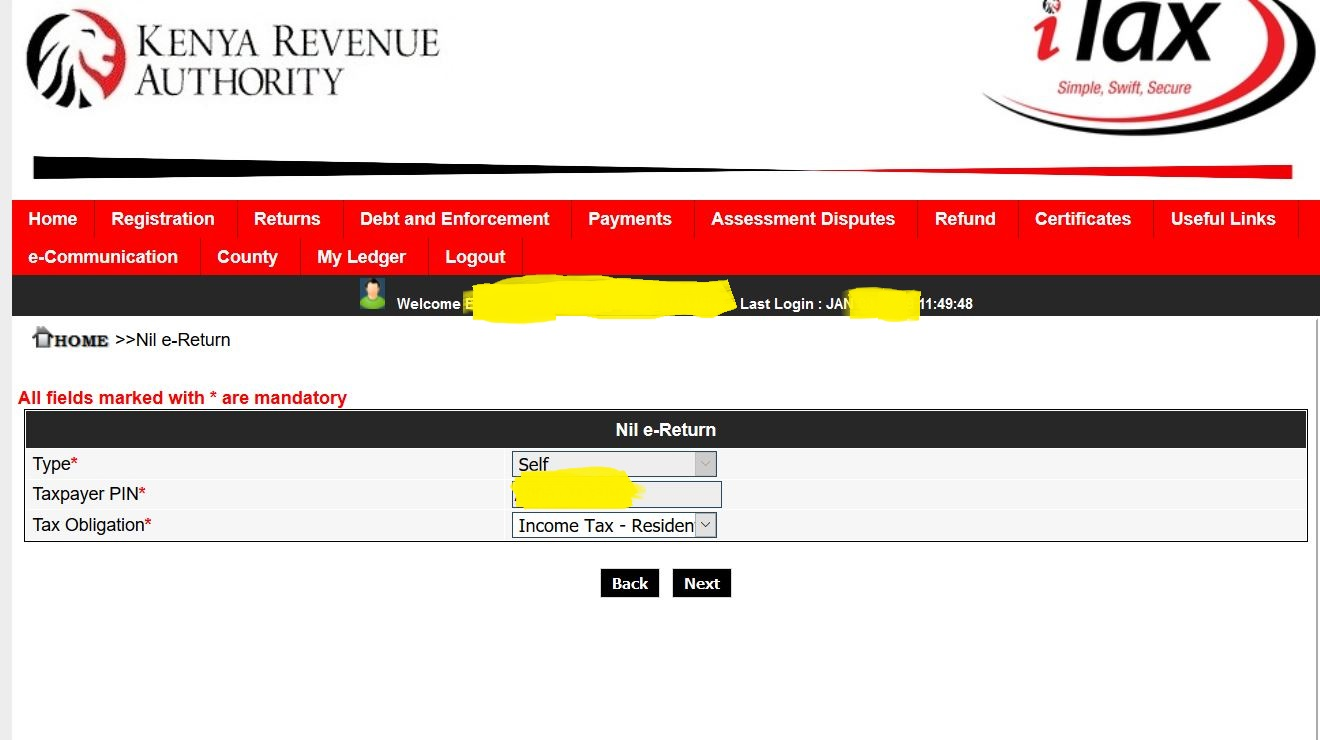 Income Tax Obligation page on Itax portal