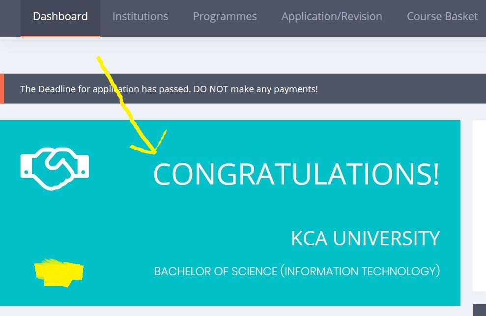 KUCCPS university placement message
