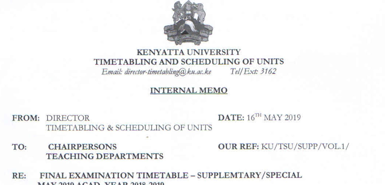 2019 Kenyatta University Supplementary and Special Exams Dates and timetable