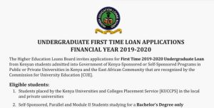 First Time undergraduate HELB Loan application for KUCCPS 2019 students