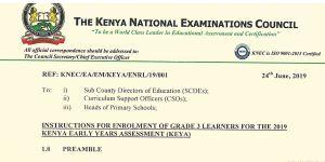 How to Register for Grade 3 students KEYA Exams, KNEC Enrollment procedure