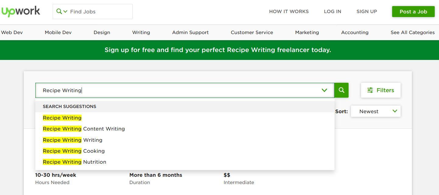 make money writing food recipe articles on freelance platforms like upwork