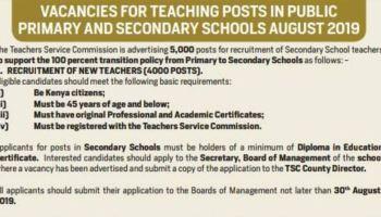TSC 2019 Jobs: Recruitment of Secondary School Teachers