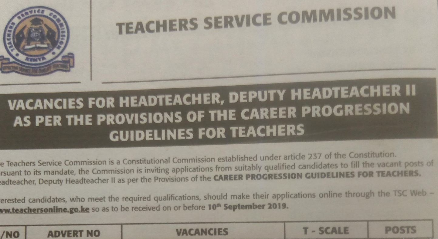 Update on TSC jobs for Deputy and Head Teachers under Career Progression Guideline for Scale 10 and 9