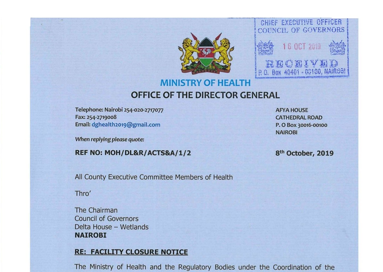 List of hospitals and Clinics Closed the ministry of education in kenya