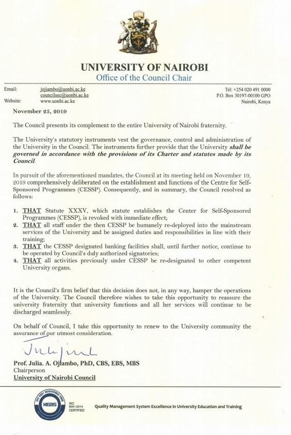 Notice of University of Nairobi suspension of Centre for Self-sponsored programmes (CESSP)