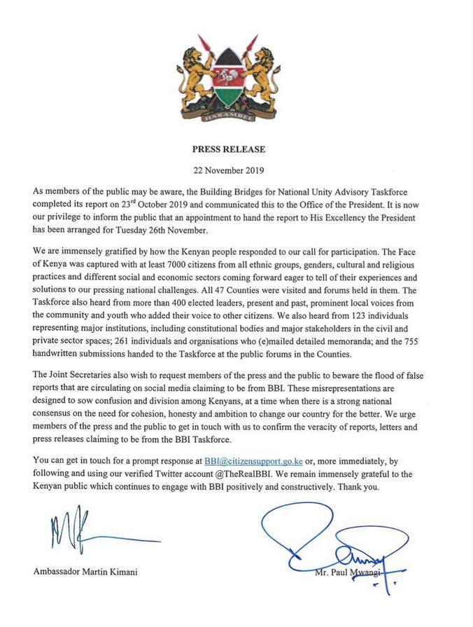 Press statement on the release from the BBI Taskforce on the release of Building Bridges Initiative report