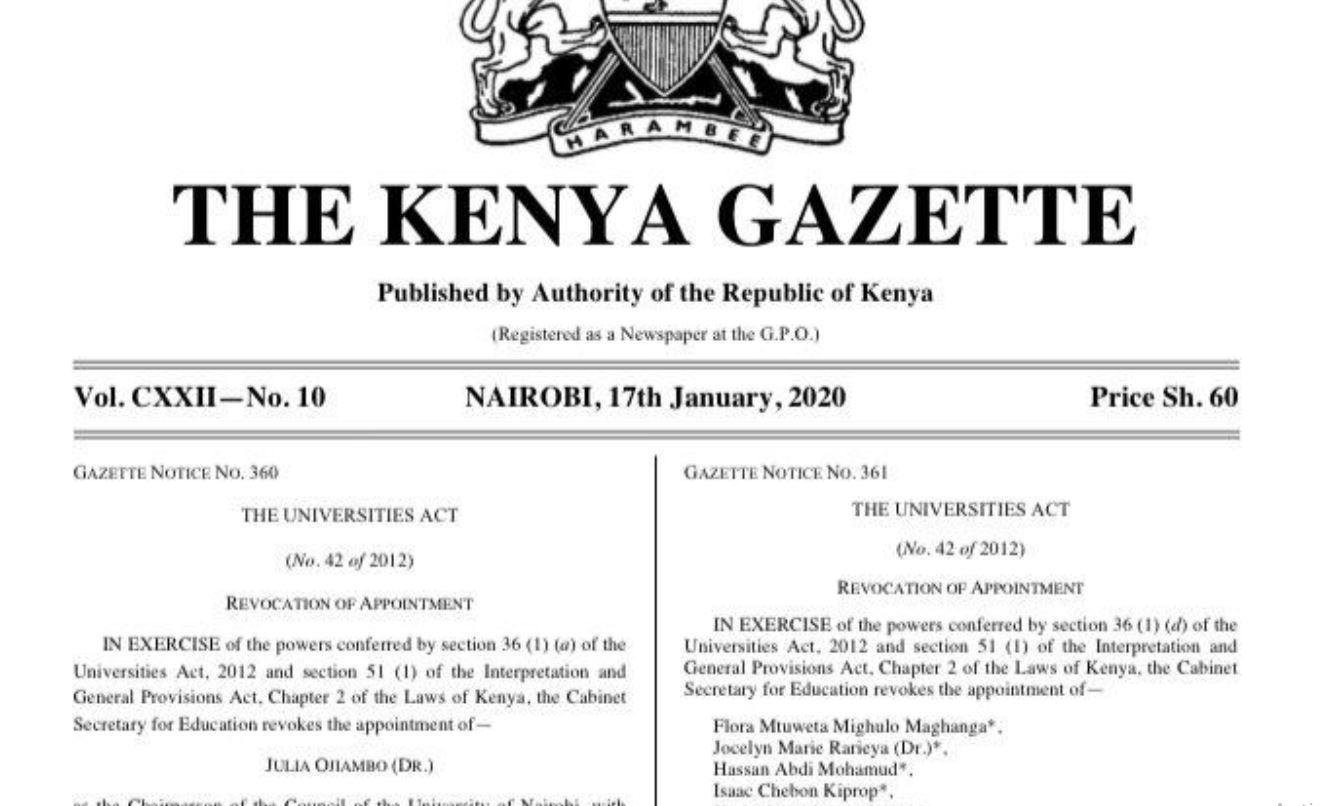 CS George Magoha revokes Stephen Kiama appointment as university of nairobi vice chancellor
