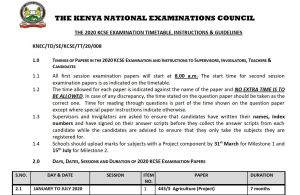 Download KNEC KCSE 2020 Timetable in pdf with all subject days and dates