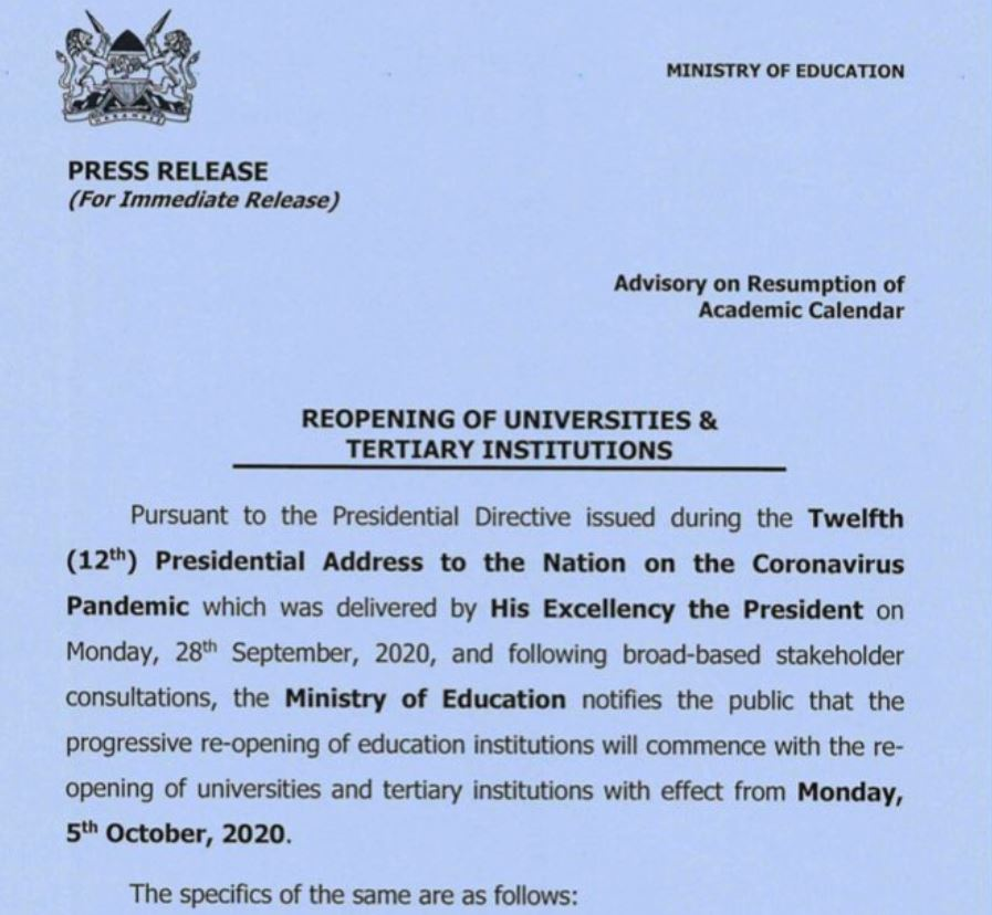 Ministry of education press release on re-opening schools
