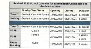 2020 Primary and High School term dates, opening and closing dates (revised)