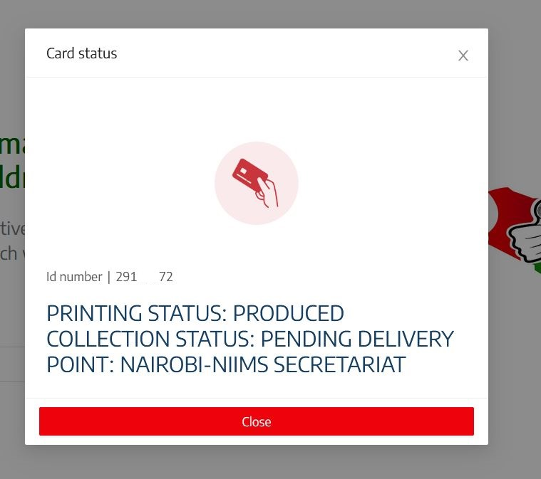produced status means huduma number card is ready for collection