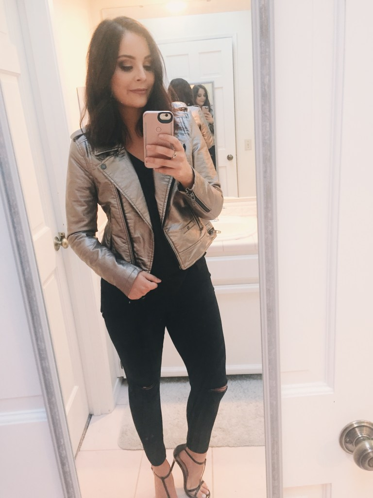 Nordstrom Sale Biker Chic outfit. Metallic Leather Jacket. Black camisole. Black Ripped Jeans. Black Strappy Heels.