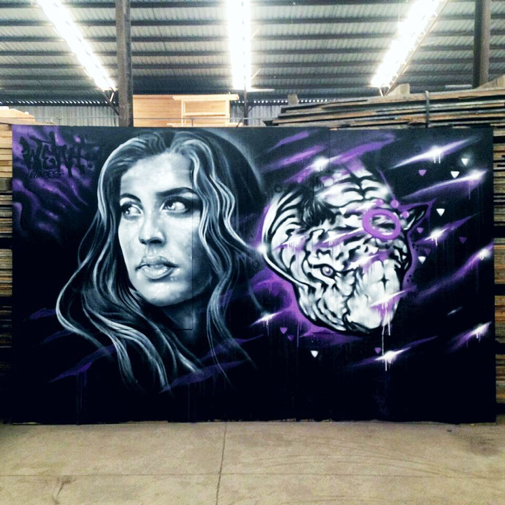 ART-OF-THEMILL - White Tiger (street art collaboration: ohnoes x keo)