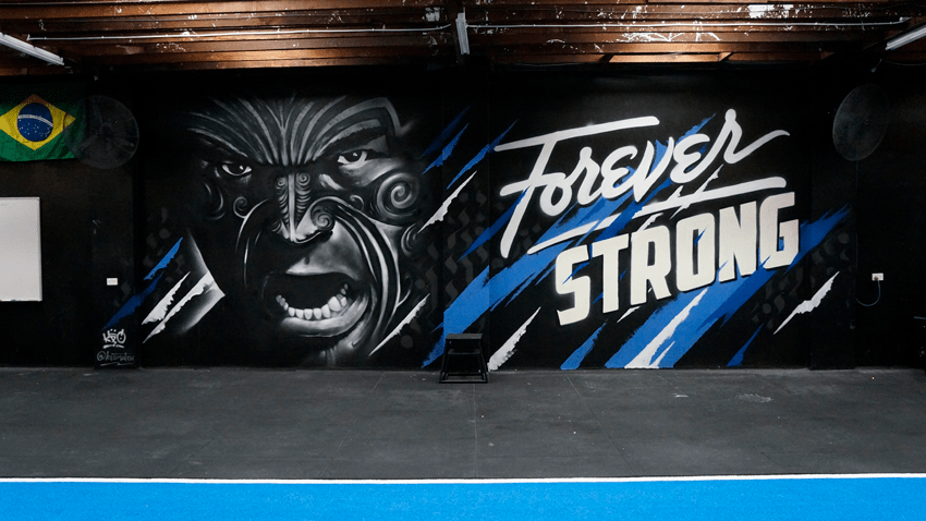 Forever Strong Feature Wall Mural At Crossfit Kia Kaha By Keo Match