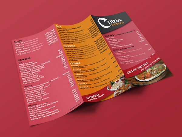 Menu Card Design for China Express a Chinese food restaurant in Pheonix Mall, Pune