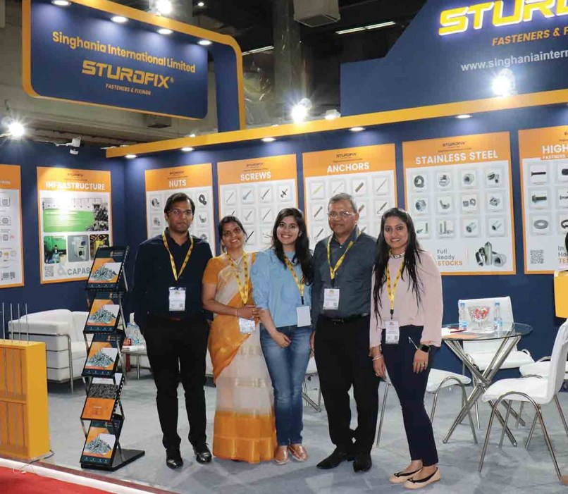 Installation Design for Sturdfix. In centre is Mrs Aditi Madaan Bansal, Design Director of Keon Designs and responsible person for designing this installation