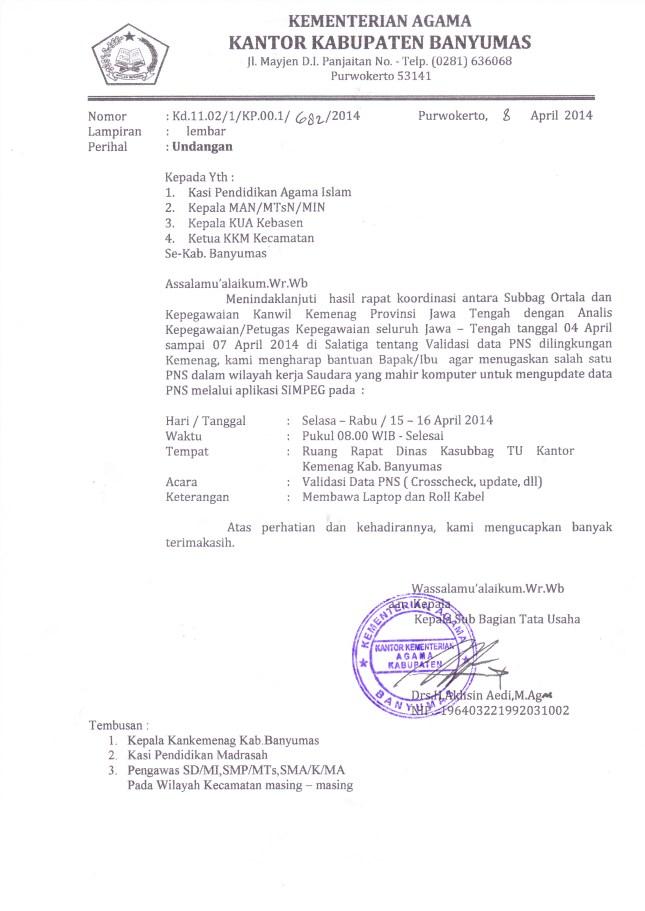 Kepegawaian Up Kantor Kementerian Agama Kabupaten