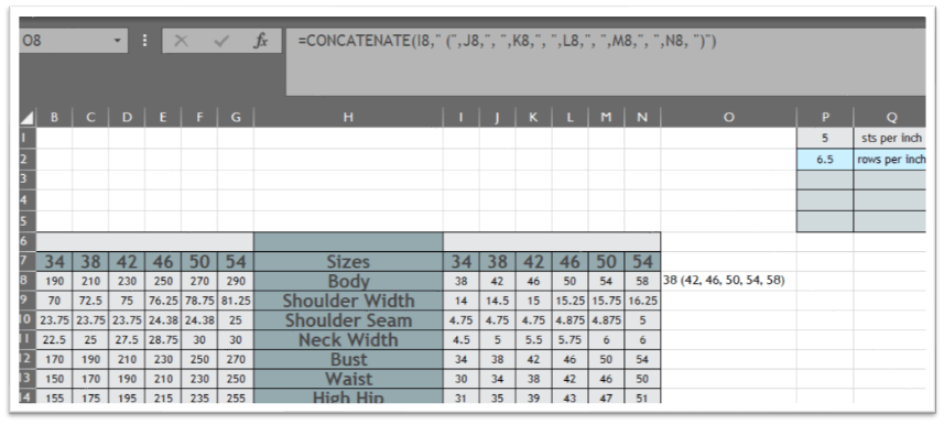 "A picture of an excel spreadsheet showing the concatenate function =CONCATENATE(I8,"" ("",J8,"", ,""K8,"", ,""L8,"", ,""M8,"", ,""N8, "")"")"