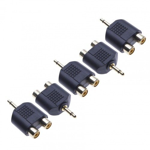 small resolution of 5 pack 2x rca stereo converter to 3 5mm mono by keple audio adapter