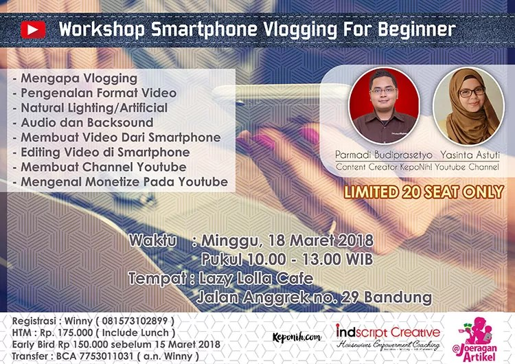 workshop vlogging, vlogging smarphone, vlogging, belajar vlog