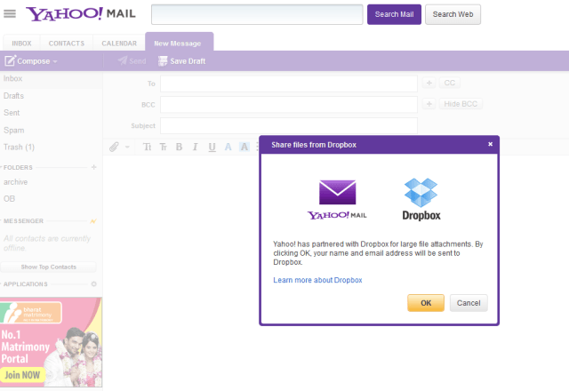 yahoo dropbox integration