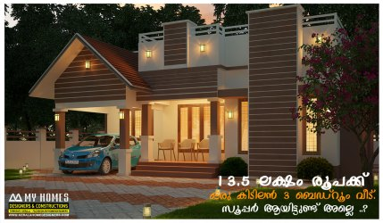 kerala floor plans designs elevations single modern houses bhk 1000 bedroom feet low budget sq ft square indian lakhs cost