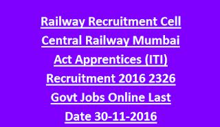 Railway Recruitment Cell is hiring for 2326 apprentice vacancies