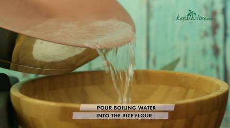 pour boiling water into the rice flour