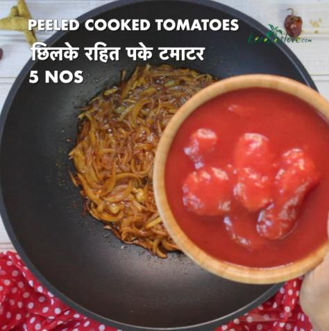 to the masala mix add five numbers of cooked tomatoes