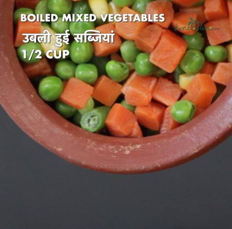 add cubed, cooked mixed vegetables into the sauce