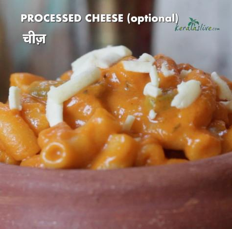 garnish pasta with either mozzarella cheese or cheddar cheese