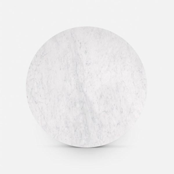 Marmerlook ronde eettafel wit