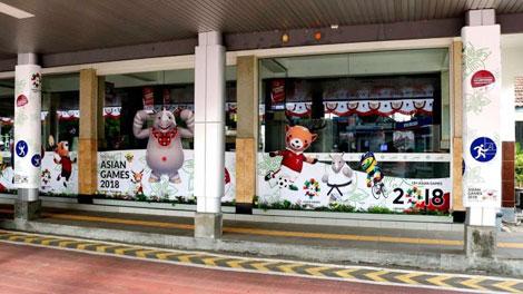 gambar pernak-pernik Asian Games di Stasiun Purwokerto - www.kompasiana.com