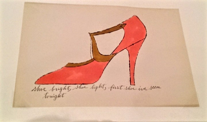 Andy Warhol Shoe bright, shoe light, first shoe I've seen tonight. Pink shoe sketch
