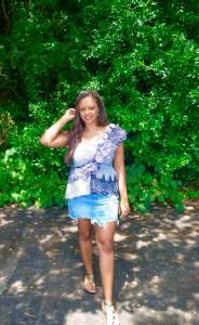 One shoulder top and denim mini skirt