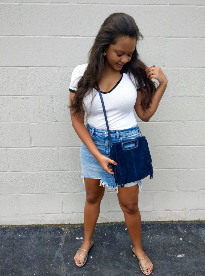 white polo denim mini skirt and maje bag