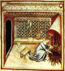 medieval cooking woman cat history chimney romance nearby kitchen cook hearth recipes cats hang easily smoke meat inside type ii